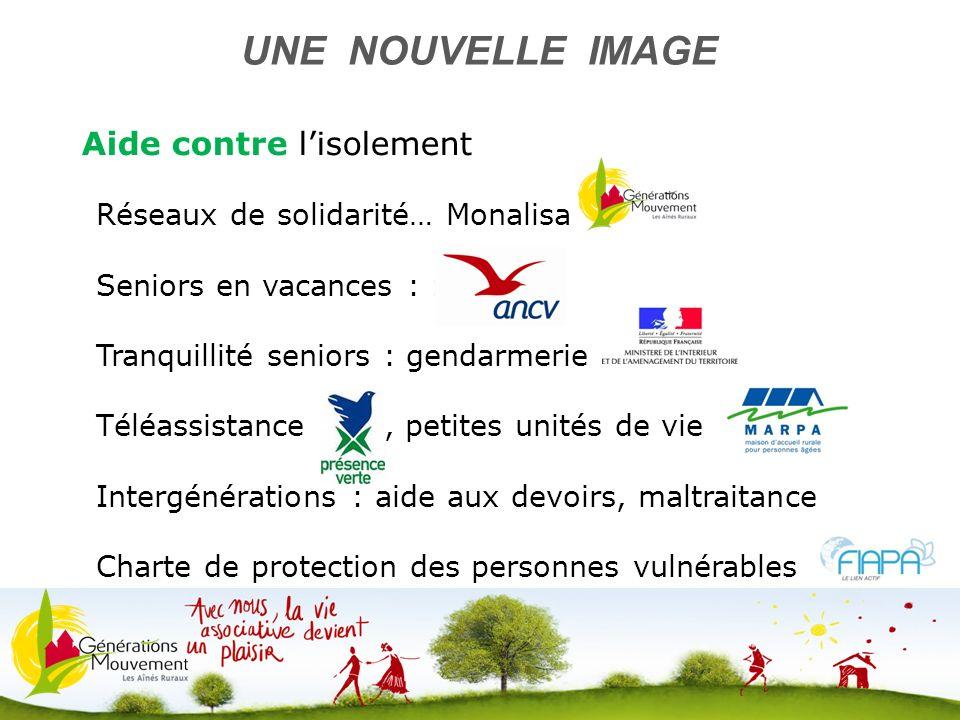 8 Aide contre lisolement UNE NOUVELLE IMAGE Réseaux de solidarité… Monalisa Seniors en vacances : : ANCV Tranquillité seniors : gendarmerie Téléassist