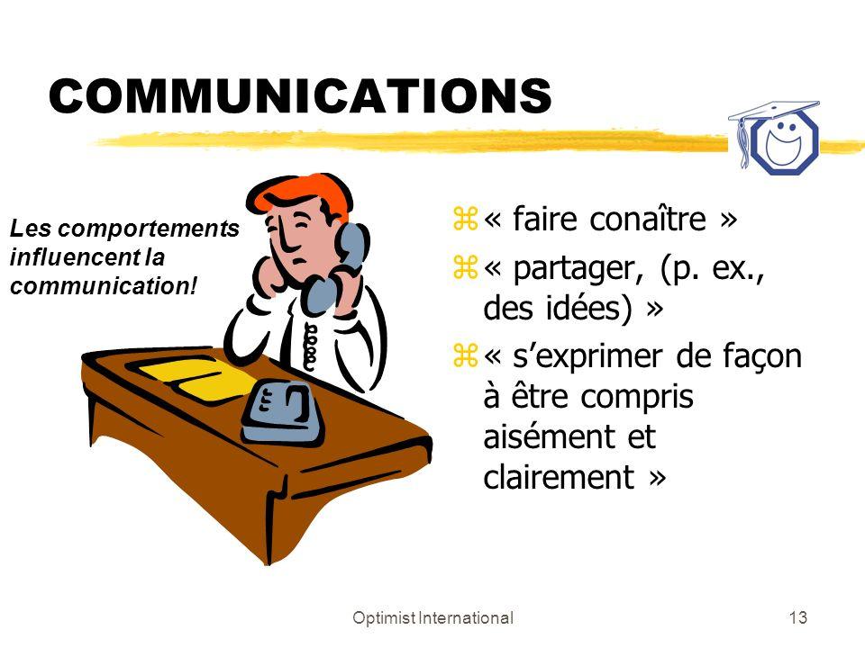 Optimist International13 COMMUNICATIONS z « faire conaître » z « partager, (p. ex., des idées) » z « sexprimer de façon à être compris aisément et cla