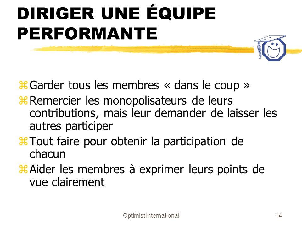 Optimist International14 DIRIGER UNE ÉQUIPE PERFORMANTE zGarder tous les membres « dans le coup » zRemercier les monopolisateurs de leurs contribution