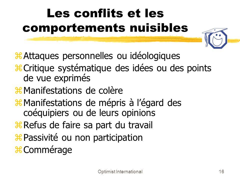 Optimist International16 Les conflits et les comportements nuisibles zAttaques personnelles ou idéologiques zCritique systématique des idées ou des po