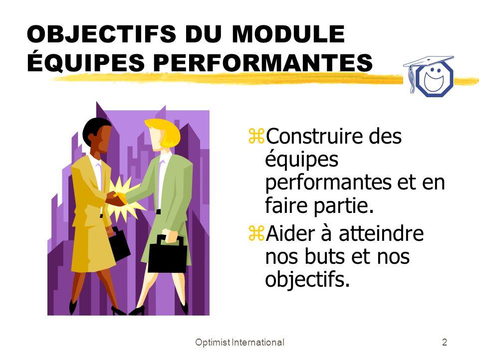 Optimist International2 OBJECTIFS DU MODULE ÉQUIPES PERFORMANTES z Construire des équipes performantes et en faire partie. z Aider à atteindre nos but