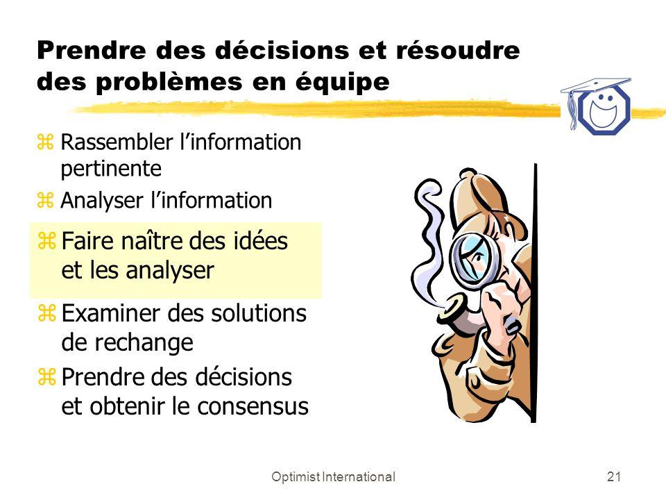 Optimist International21 Prendre des décisions et résoudre des problèmes en équipe zFaire naître des idées et les analyser zExaminer des solutions de