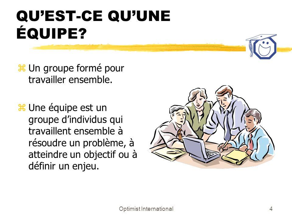 Optimist International4 QUEST-CE QUUNE ÉQUIPE? zUn groupe formé pour travailler ensemble. zUne équipe est un groupe dindividus qui travaillent ensembl