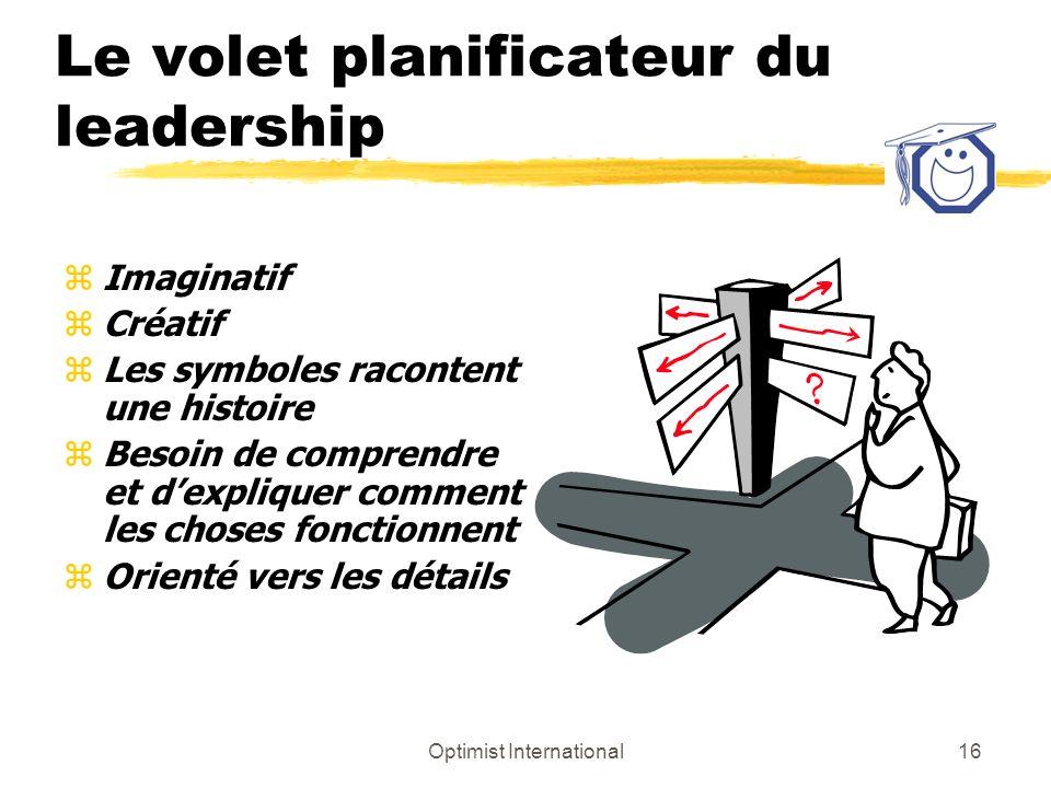 Optimist International15 Le volet planificateur du leadership Passez-moi le vert Analyser Innovateur CréerLunivers selon Copernic Réfléchir Prévoir Co