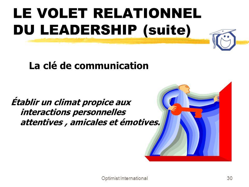 Optimist International29 LE VOLET RELATIONNEL DU LEADERSHIP (suite) z Prendre plaisir à être avec quelquun z Limportance des émotions z Oublier ses pr