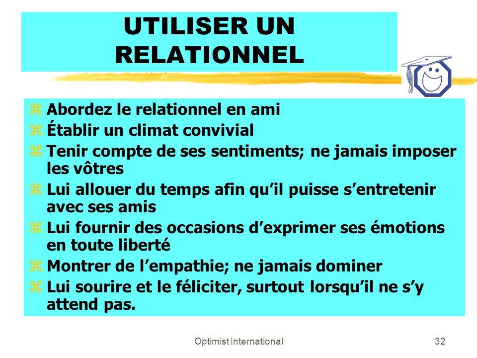 Optimist International31 Traitez-moi en sociable – donnez-moi la couleur du relationnel (bleu) zSoutien et climat amical zHarmonie, travail de groupe