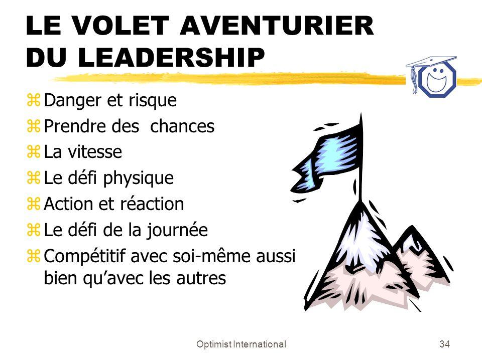 Optimist International33 LA PAGE DIMAGES DE LAVENTURIER Le volet aventurier du leadership Passez-moi le rouge À bas les règles! Risque Émotions fortes