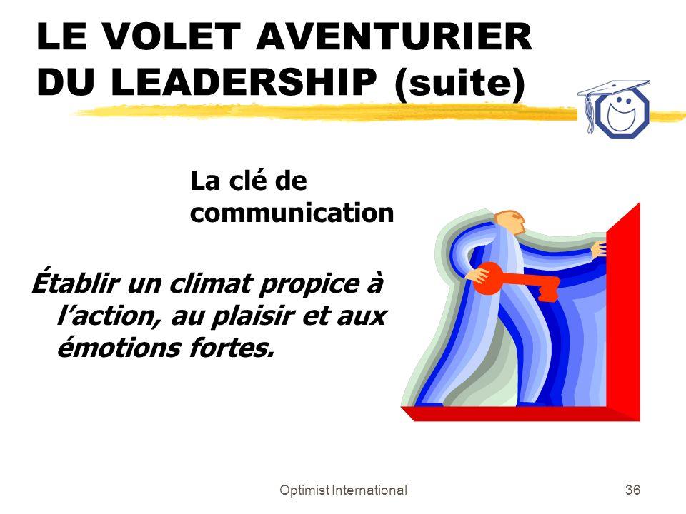 Optimist International35 LE VOLET AVENTURIER DU LEADERSHIP (suite) z Action, mouvement z Le court terme z Aucune règle? Ça, cest très bien! z Meilleur