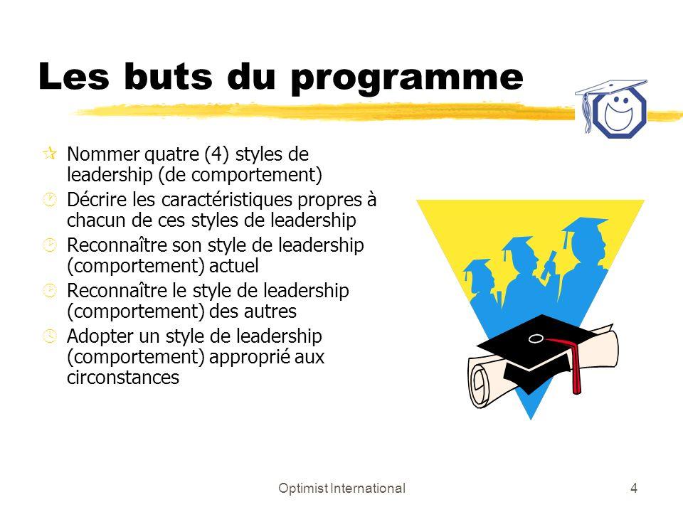 Optimist International3 INTRODUCTION z Comprendre le comportement des gens est une source defficacité. z Le chef déquipe comprend les motivations et l