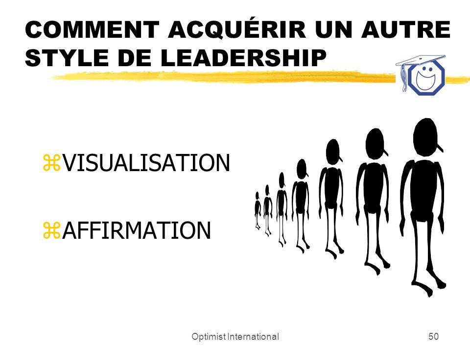 Optimist International49 PLAN DACTION zVous ne développez pas un style de leadership au détriment daucun autre style. zVous développez un autre style