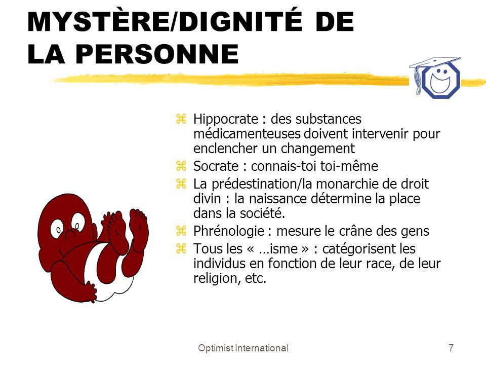 Optimist International6 LES ORIGINES DE LA PENSÉE OCCIDENTALE MYSTÈRE/DIGNITÉ DE LA PERSONNE z Les individus sont en charge z Tous les individus sont