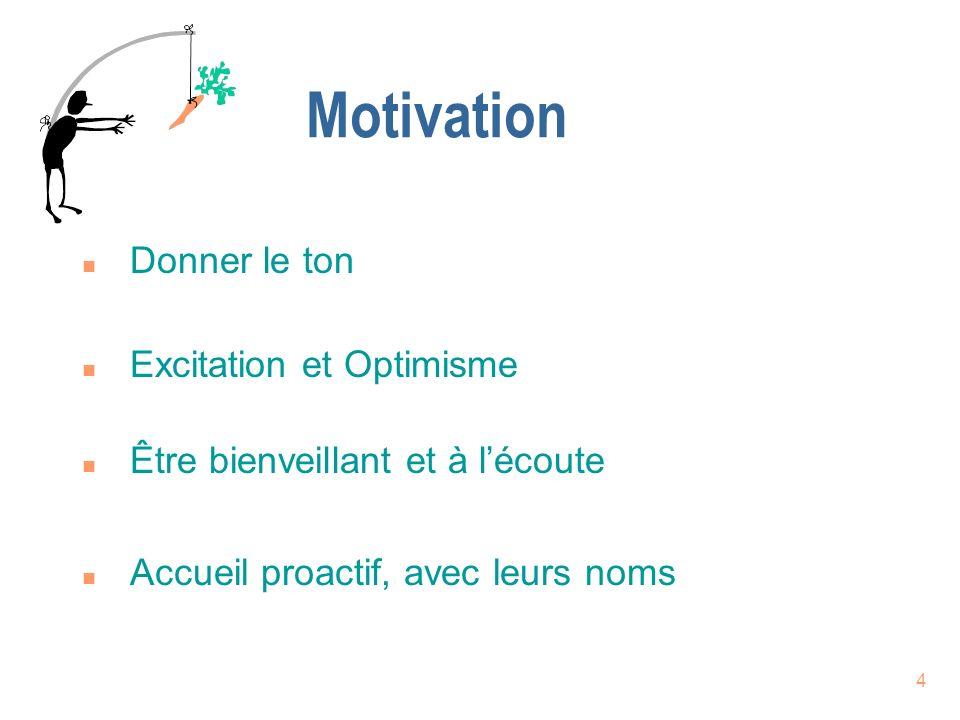 4 Motivation n Accueil proactif, avec leurs noms n Donner le ton n Excitation et Optimisme n Être bienveillant et à lécoute