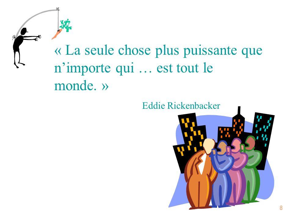 8 « La seule chose plus puissante que nimporte qui … est tout le monde. » Eddie Rickenbacker