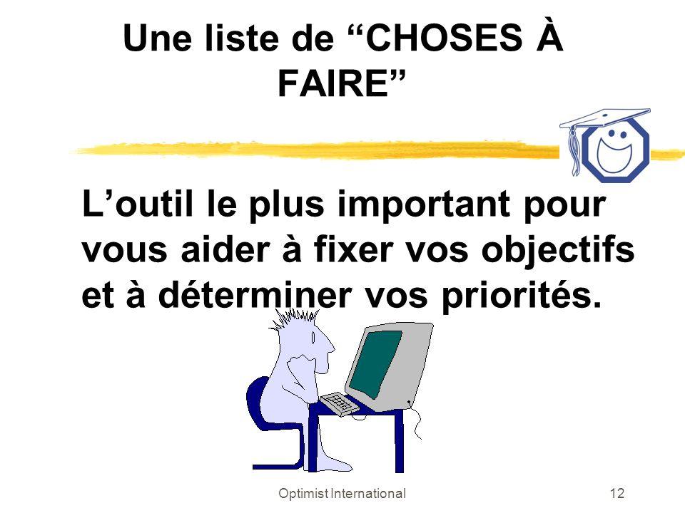 Optimist International12 Une liste de CHOSES À FAIRE Loutil le plus important pour vous aider à fixer vos objectifs et à déterminer vos priorités.