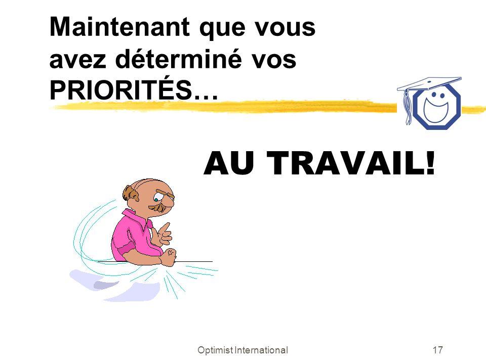 Optimist International17 Maintenant que vous avez déterminé vos PRIORITÉS… AU TRAVAIL!