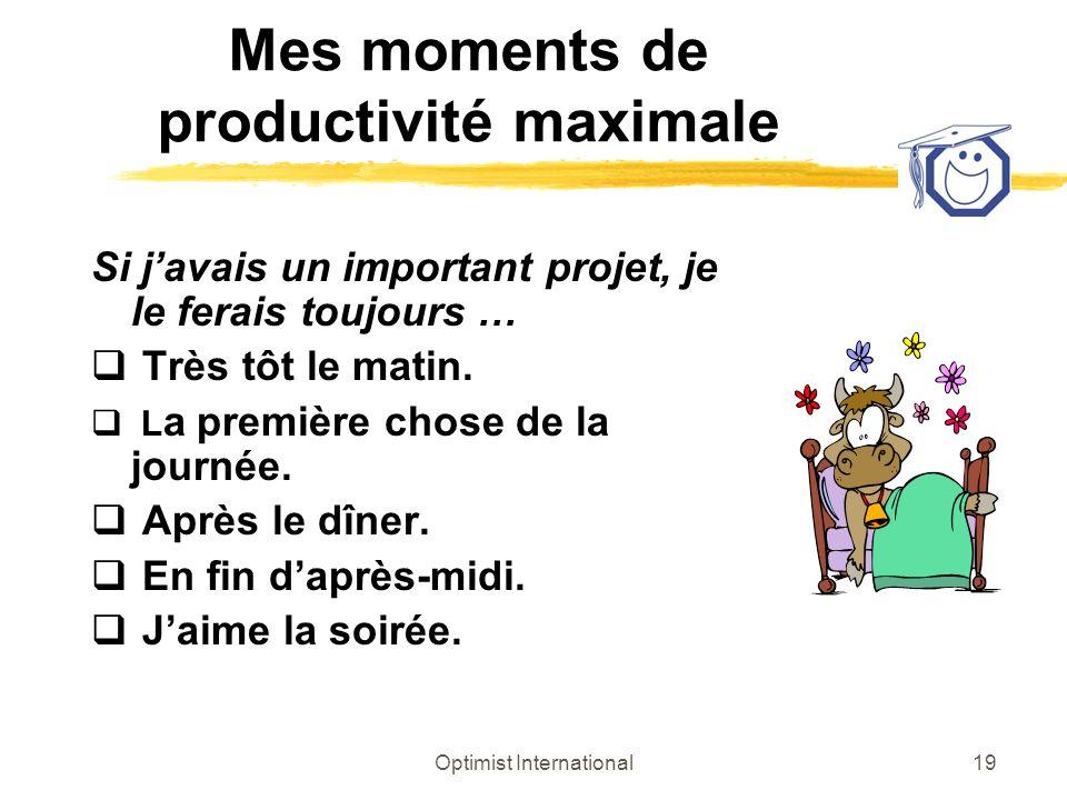 Optimist International19 Mes moments de productivité maximale Si javais un important projet, je le ferais toujours … Très tôt le matin. L a première c