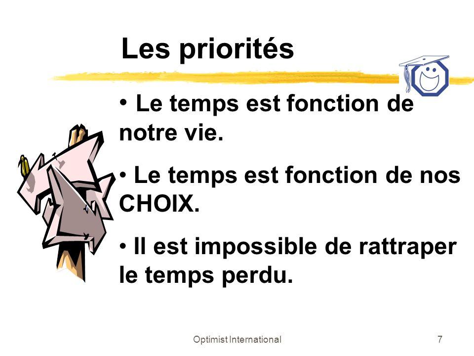 Optimist International7 Les priorités Le temps est fonction de notre vie. Le temps est fonction de nos CHOIX. Il est impossible de rattraper le temps