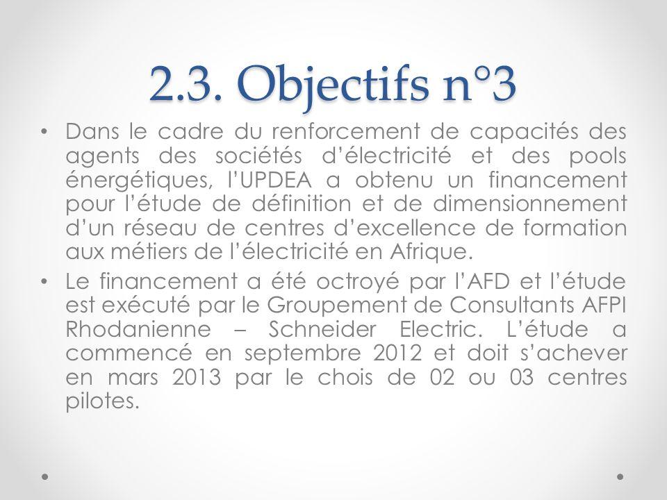 2.3. Objectifs n°3 Dans le cadre du renforcement de capacités des agents des sociétés délectricité et des pools énergétiques, lUPDEA a obtenu un finan