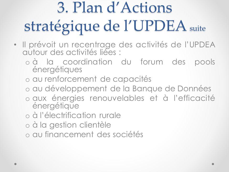3. Plan dActions stratégique de lUPDEA suite Il prévoit un recentrage des activités de lUPDEA autour des activités liées : o à la coordination du foru