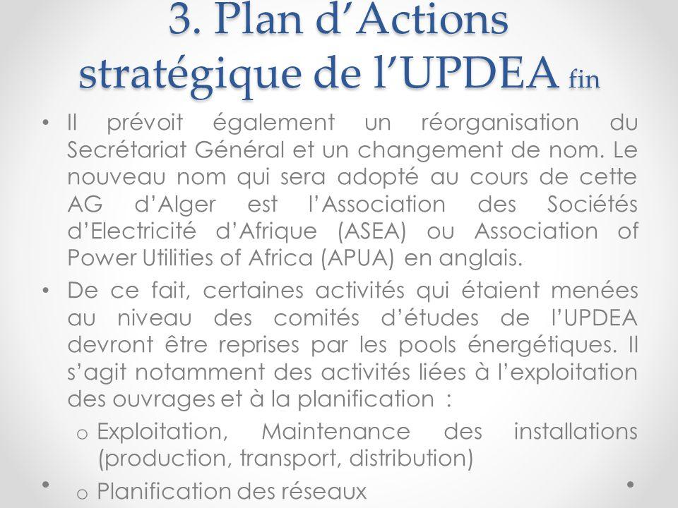3. Plan dActions stratégique de lUPDEA fin Il prévoit également un réorganisation du Secrétariat Général et un changement de nom. Le nouveau nom qui s