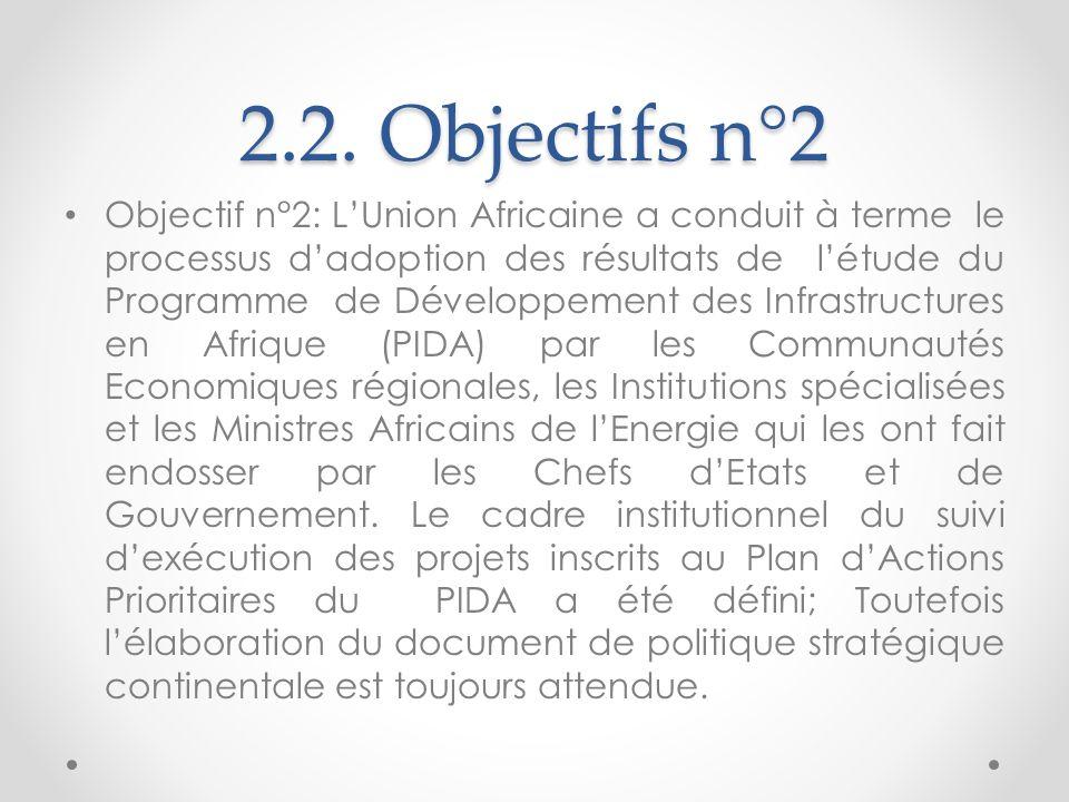 2.2. Objectifs n°2 Objectif n°2: LUnion Africaine a conduit à terme le processus dadoption des résultats de létude du Programme de Développement des I