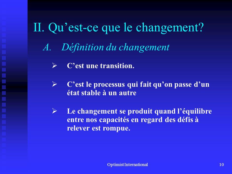 Optimist International9 1. Quest-ce cest que gérer le changement? C.Les principes pour gérer le changement 5. Les gens qui projettent un comportement