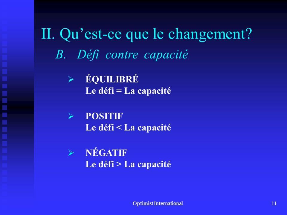 Optimist International10 II. Quest-ce que le changement? A.Définition du changement Cest une transition. Cest le processus qui fait quon passe dun éta