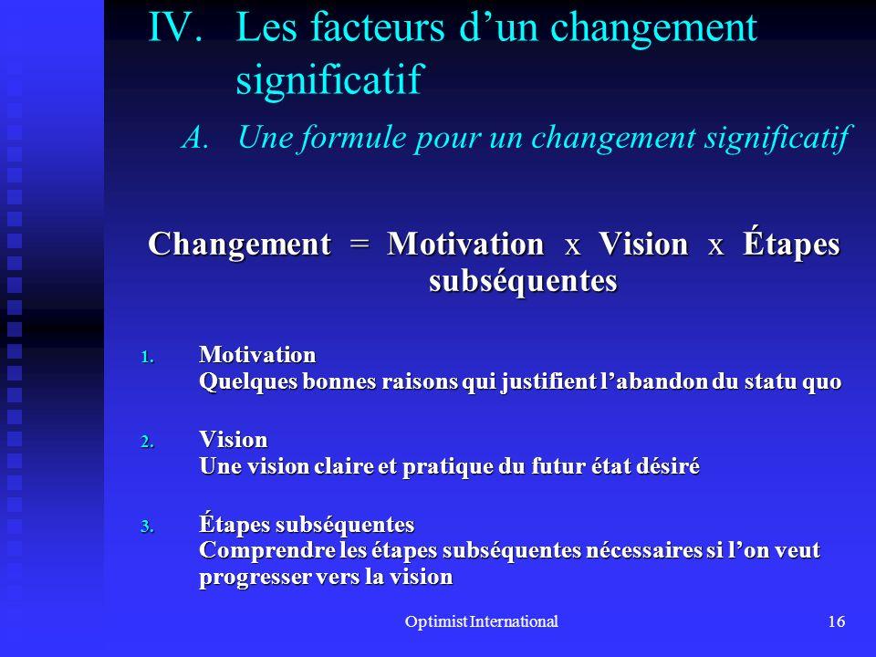Optimist International15 III. Pourquoi les gens résistent au changement C.Comprendre le contrôle Au cœur de la compréhension de la façon dont les gens
