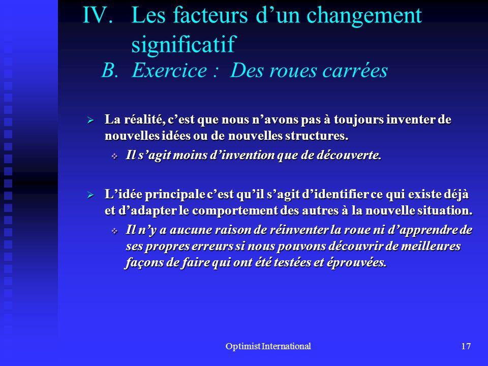 Optimist International16 IV.Les facteurs dun changement significatif A.Une formule pour un changement significatif Changement = Motivation x Vision x