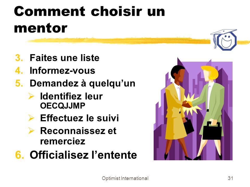 Optimist International30 Comment choisir un mentor 2.Le mentor idéal est compatible avec : Votre genre de personnalité Votre mode dapprentissage Est un cerveau droit ou gauche