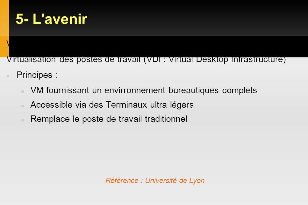 5- L'avenir VDI Virtualisation des postes de travail (VDI : Virtual Desktop Infrastructure) Principes : VM fournissant un envirronnement bureautiques