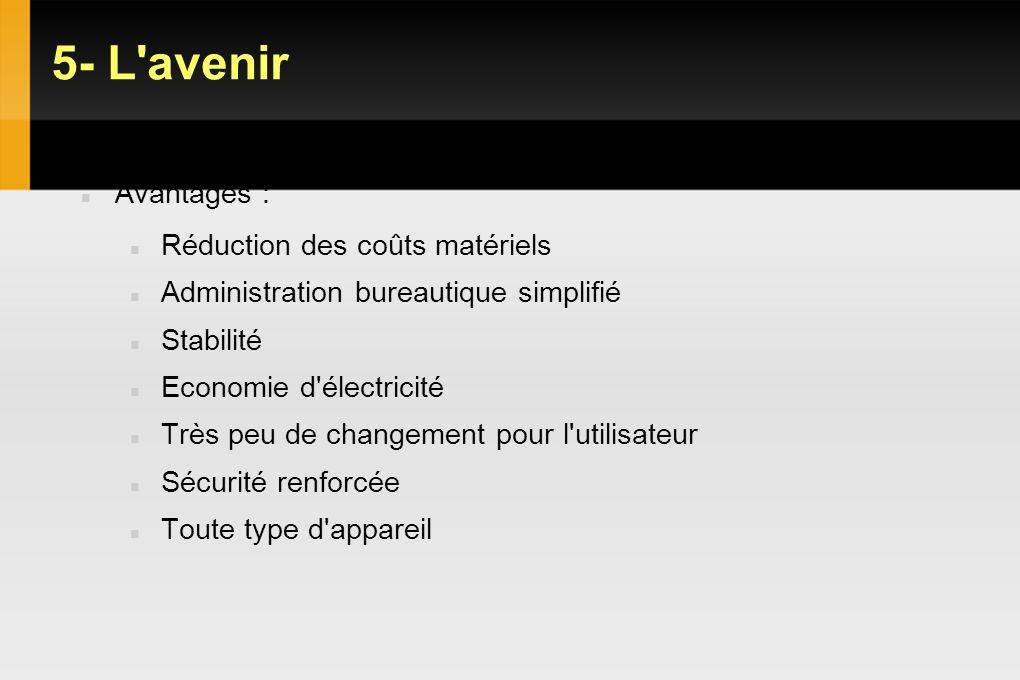 5- L'avenir VDI : Objectifs Gains et limites Avantages : Réduction des coûts matériels Administration bureautique simplifié Stabilité Economie d'élect