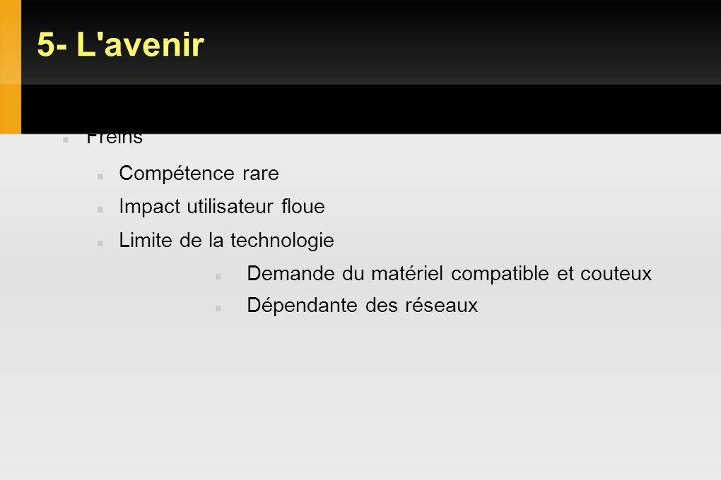 5- L'avenir VDI : Objectifs Gains et limites Freins Compétence rare Impact utilisateur floue Limite de la technologie Demande du matériel compatible e