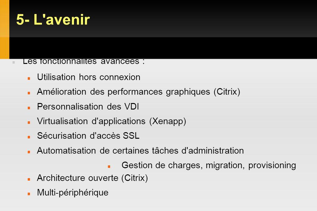 5- L'avenir VDI Les fonctionnalités avancées : Utilisation hors connexion Amélioration des performances graphiques (Citrix) Personnalisation des VDI V