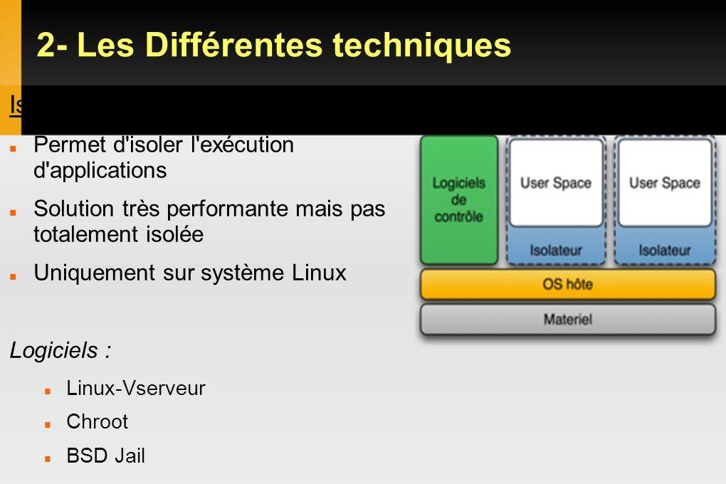 2- Les Différentes techniques Hyperviseur Type 2 Il permet de lancer 1 ou plusieurs OS invités sur un seul OS hôte Les OS invités croient dialoguer directement avec le matériel Permet d avoir des OS hétérogènes sur une mm machine Permet de virtualiser plusieurs cartes réseaux sur 1 seul carte réelle Bonne isolation mais performance moyenne