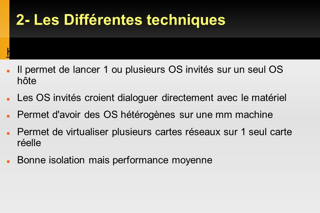 2- Les Différentes techniques Hyperviseur Type 2 Il permet de lancer 1 ou plusieurs OS invités sur un seul OS hôte Les OS invités croient dialoguer di