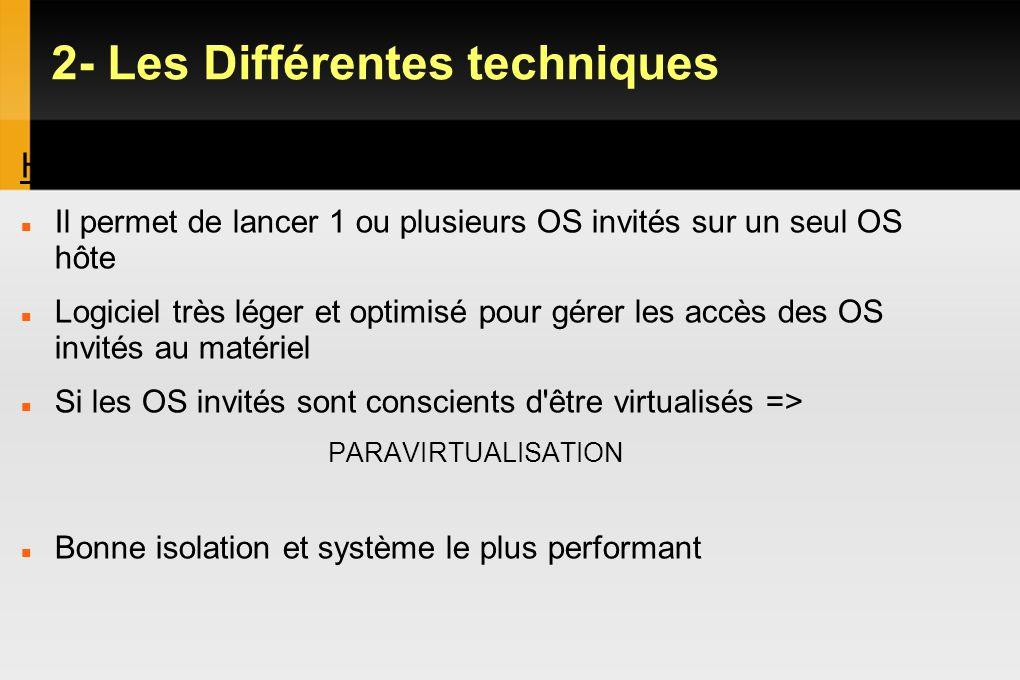 2- Les Différentes techniques Hyperviseur Type 1 Il permet de lancer 1 ou plusieurs OS invités sur un seul OS hôte Logiciel très léger et optimisé pou