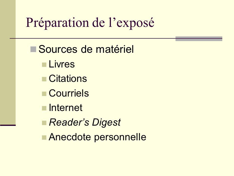 Préparation de lexposé Sources de matériel Livres Citations Courriels Internet Readers Digest Anecdote personnelle