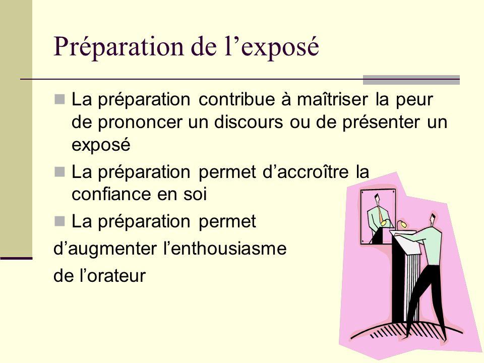 Préparation de lexposé La préparation contribue à maîtriser la peur de prononcer un discours ou de présenter un exposé La préparation permet daccroîtr