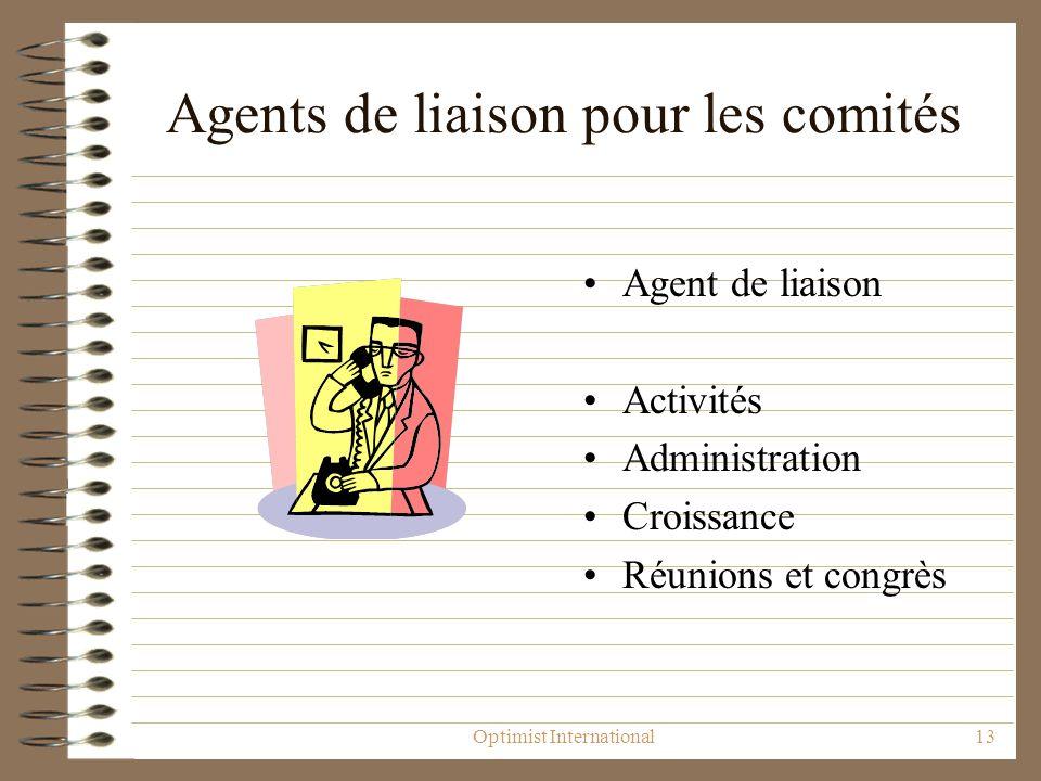 Optimist International13 Agents de liaison pour les comités Agent de liaison Activités Administration Croissance Réunions et congrès