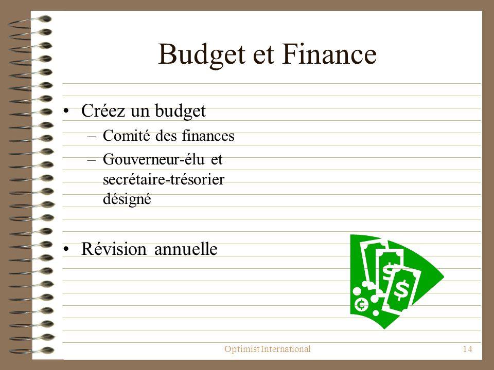Optimist International14 Budget et Finance Créez un budget –Comité des finances –Gouverneur-élu et secrétaire-trésorier désigné Révision annuelle