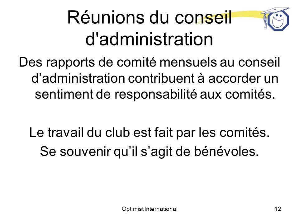 Optimist International11 Réunions du conseil d administration Qui sont les membres du conseil dadministration.