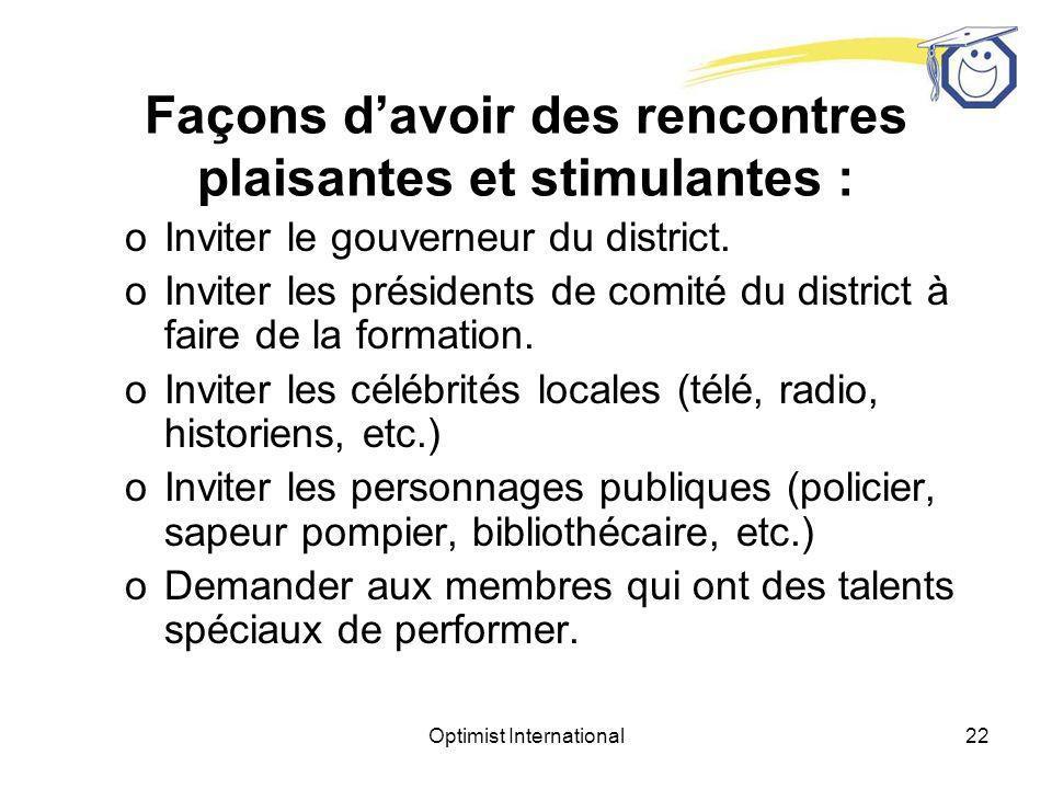 Optimist International21 Camaraderie Hôtes Macarons didentification Activités des membres Participation Reconnaissances Activités