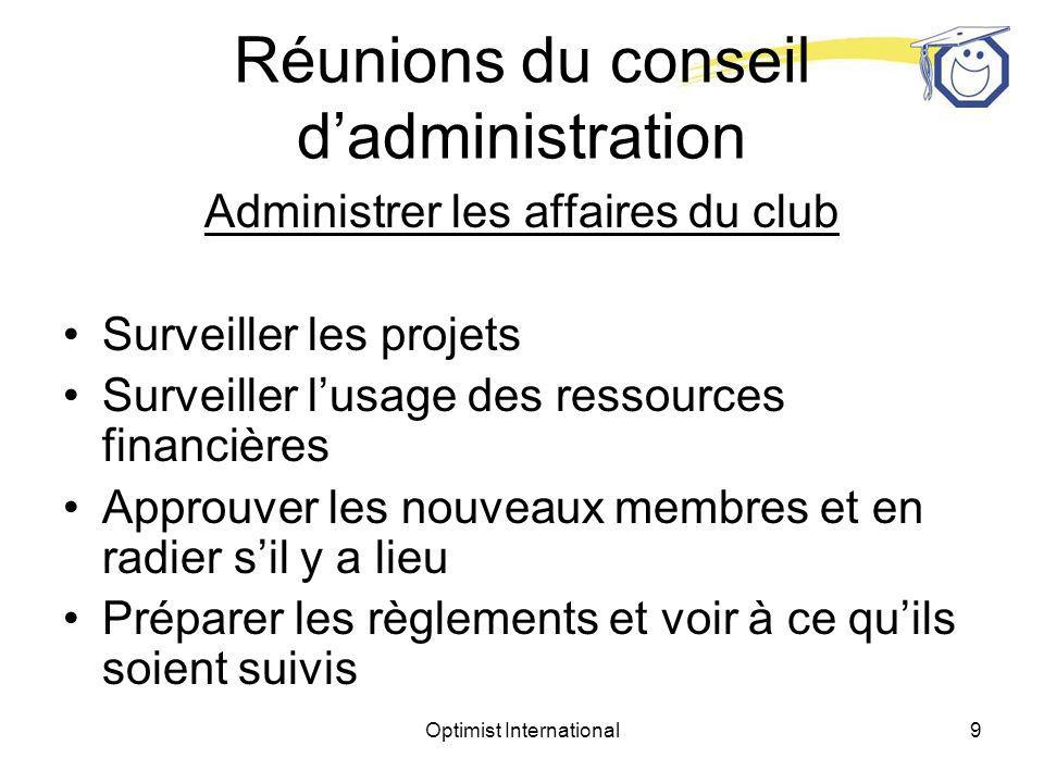 Optimist International8 Diriger des réunions Réunions du conseil dadministration
