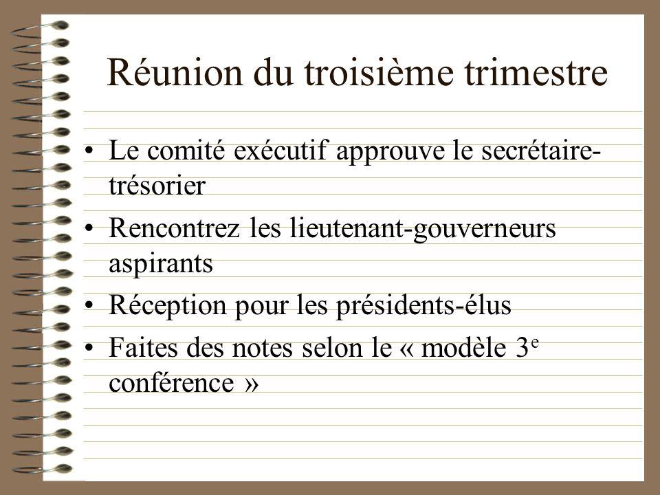 Réunion du troisième trimestre Le comité exécutif approuve le secrétaire- trésorier Rencontrez les lieutenant-gouverneurs aspirants Réception pour les