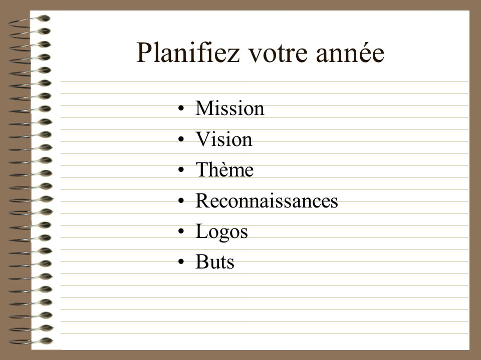 Planifiez votre année Mission Vision Thème Reconnaissances Logos Buts