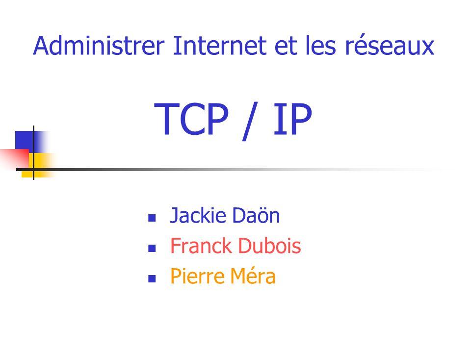 Administrer Internet et les réseaux TCP / IP Jackie Daön Franck Dubois Pierre Méra