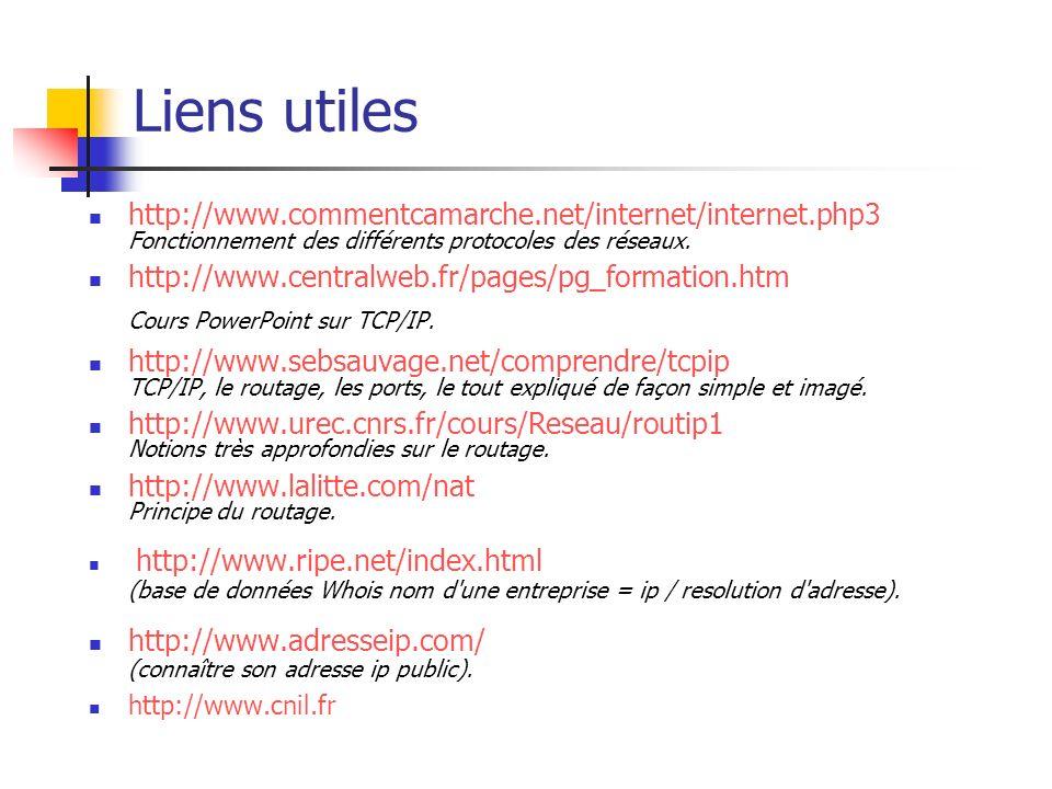 Liens utiles http://www.commentcamarche.net/internet/internet.php3 Fonctionnement des différents protocoles des réseaux. http://www.centralweb.fr/page