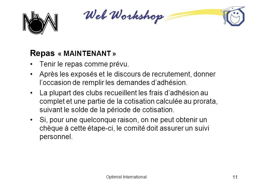 Web Workshop Optimist International 11 Repas « MAINTENANT » Tenir le repas comme prévu. Après les exposés et le discours de recrutement, donner loccas