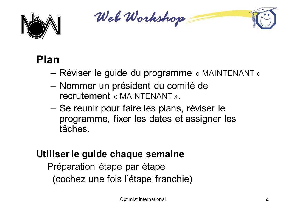 Web Workshop Optimist International 4 Plan –Réviser le guide du programme « MAINTENANT » –Nommer un président du comité de recrutement « MAINTENANT ».